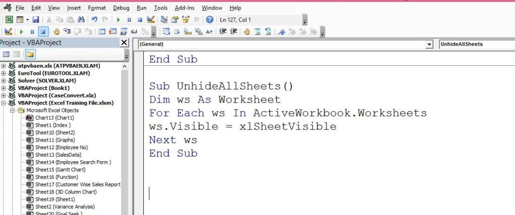 Vba Code To Unhide All Hidden Worksheets Masteringexcel In