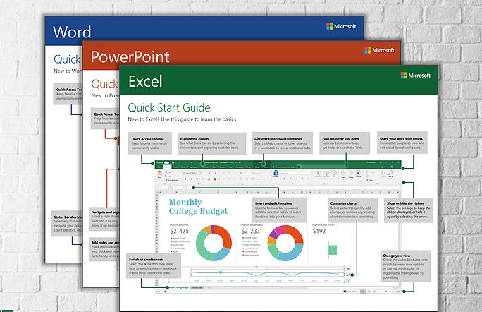 Quick start guides MS Excel,Powerpoint,Word,outlook,One note